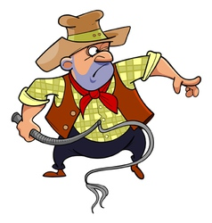 cartoon man in a cowboy hat brandishing a whip vector image