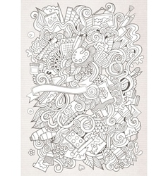 Cartoon sketchy art and craft background vector