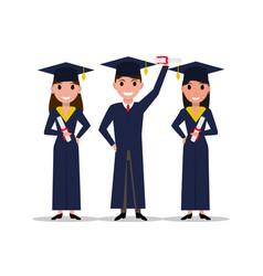Cartoon student girl boy graduate vector