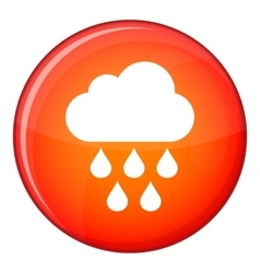 Cloud with rain drops icon flat style vector