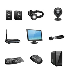 Computer accessories icons black vector