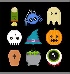 Cute fun halloween icons set vector