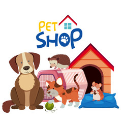 Cute pets by the pethouse vector