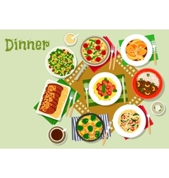 Dinner dishes icon with pasta salad and meat vector