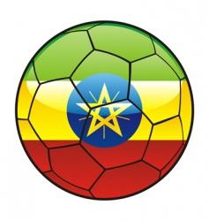 ethiopia flag on soccer ball vector image