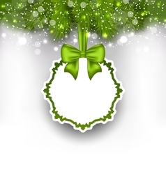 Greeting paper card with bow ribbon and fir twigs vector