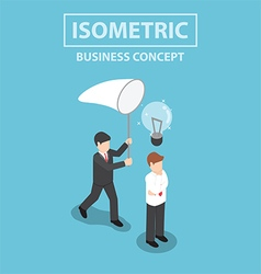 Isometric businessman stealing light bulb of idea vector