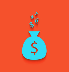 Money bag sign with currency symbols vector