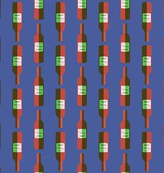 Pop art red wine bottle seamless pattern vector