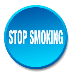 Stop smoking blue round flat isolated push button vector