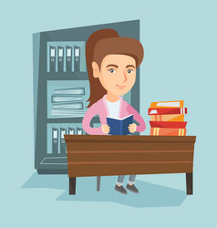 Student sitting at the table and reading a book vector