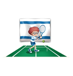 The flag of Israel with a tennis player vector image vector image