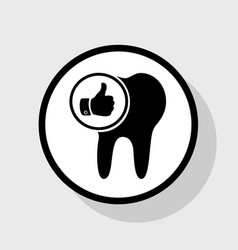 Tooth sign with thumbs up symbol flat vector