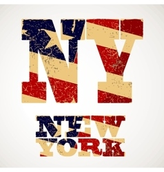 Vintage lettering ny and new york flag of the usa vector
