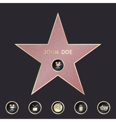 Walk of fame star with emblems symbolize five vector