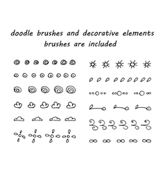 Doodle ink brushes and hand drawn decorative vector