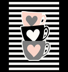 cute cups poster design vector image