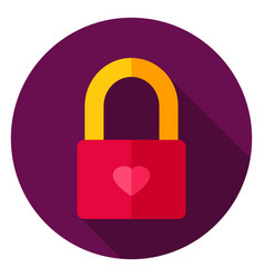 Love lock circle icon vector
