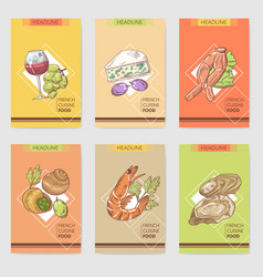 French cuisine hand drawn cards brochure menu vector