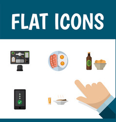 Flat icon lifestyle set of bureau beer with chips vector