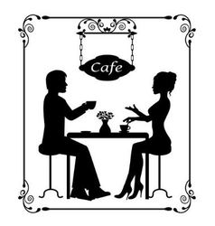 silhouettes of a loving couple in a cafe and vinta vector image