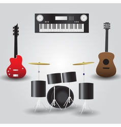 Guitars drums and keyboard music instruments eps10 vector