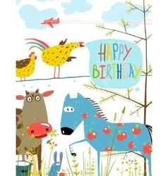 Colorful Funny Cartoon Farm Domestic Animals vector image
