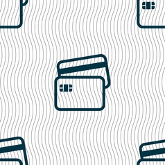 Credit card icon sign seamless pattern with vector