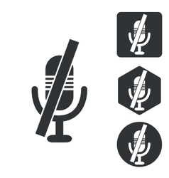 Muted microphone icon set monochrome vector