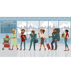 people in the airport with luggage vector image