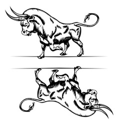 bull cartoon in engraving style vector image