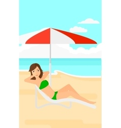 Woman sitting in chaise longue vector