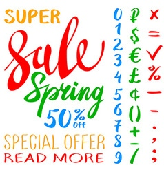 Super spring sale lettering typography design vector