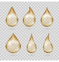 Transparent yellow oil drops set vector