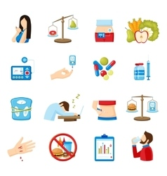 Diabetes symptoms signs flat icons collection vector