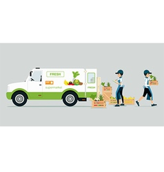 Vehicles carrying vegetables vector