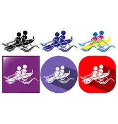 Three designs of kayaking icon vector
