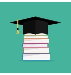 Academic books with hat on they graduation cap vector