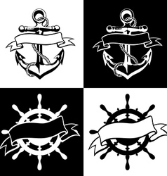 Anchor icon tattoo logo grunge design floral hand vector image vector image
