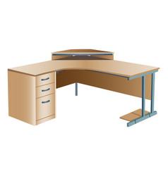 Angled corner office desk vector