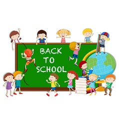 Back to school theme with kids and board vector image