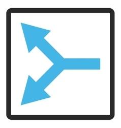 Bifurcation arrow left framed icon vector
