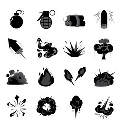 Bomb explode icon set vector