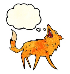 Cartoon snapping fox with thought bubble vector