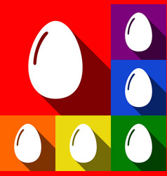 Chiken egg sign set of icons with flat vector