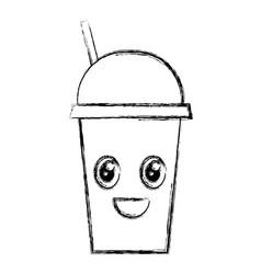 coffee cup plastic kawaii character vector image vector image