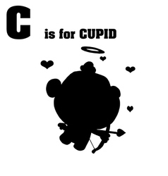 Cupid cartoon silhouette vector image