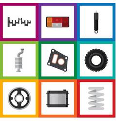 flat icon auto set of gasket wheel heater and vector image vector image