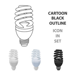 fluorescent lightbulb icon in cartoon style vector image