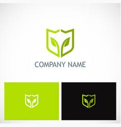 Green leaf shield environment logo vector